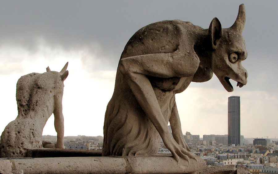 gargoyles and grotesques. These two gargoyles sitting on