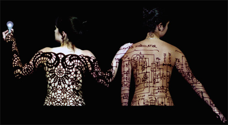 Women with tattoo-design second skin.