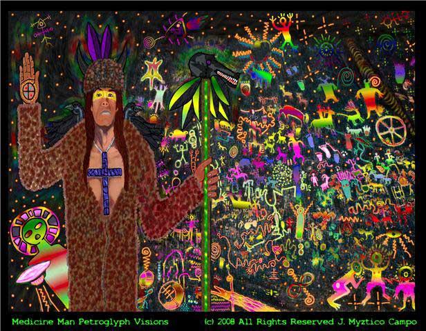 'Medicine Man Petroglyph Visions' by Myztico Campo.