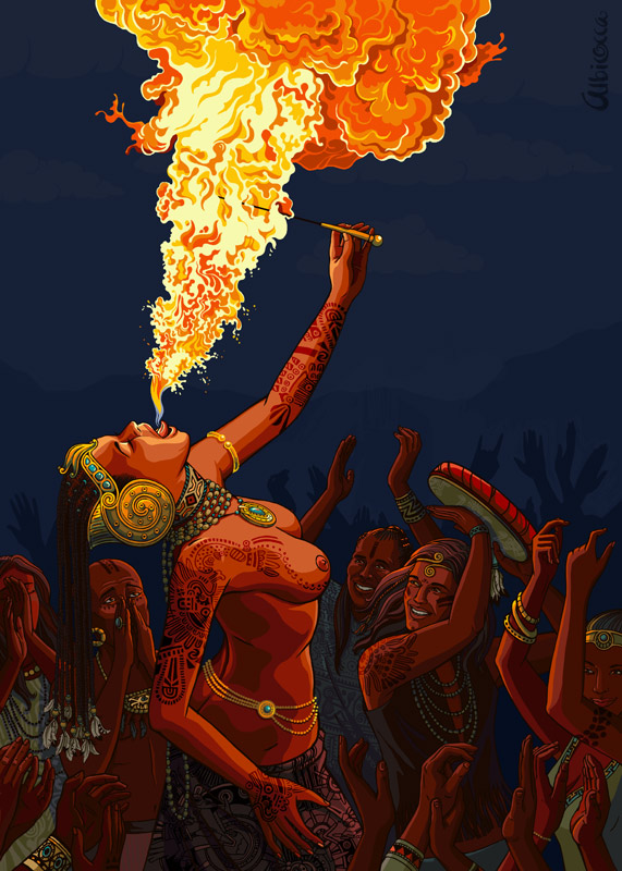 """Fire, walk with me..."" Shamanic fire dance. (c) Elena Dolgova"