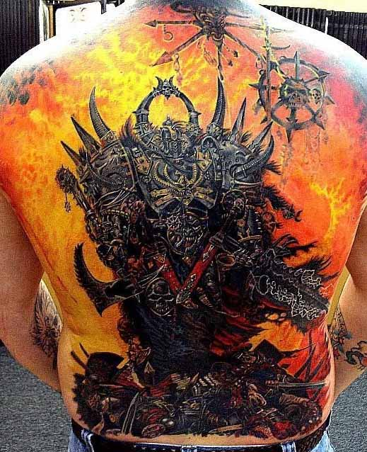 Tattoo of a demon in hell. Tatto eines dämon in der hölle. (photo ...