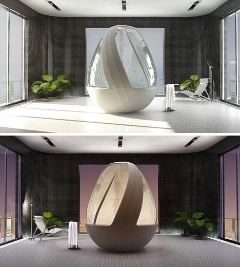 Spiral egg shower by arina komarova ultrafeel tv for Spiral shower stall