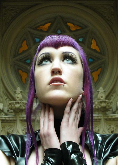 "Natali Addams' ""Moselem"" Violet hair and piercings."