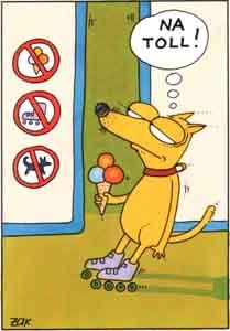 Dog, Ice cream, Rollerblades