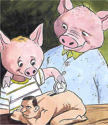 Pigs using humans to save money.