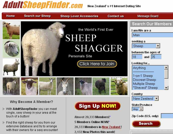 Adult Sheep Finder: Sheep shagger...sex with sheep in New Zealand.