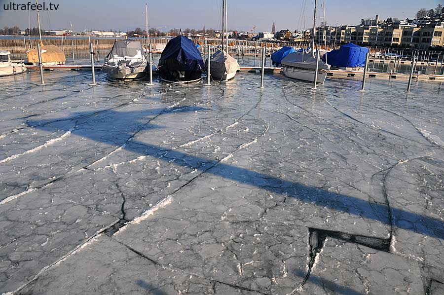 Boats caught in pack ice on Lake of Constance in Staad, Switzerland