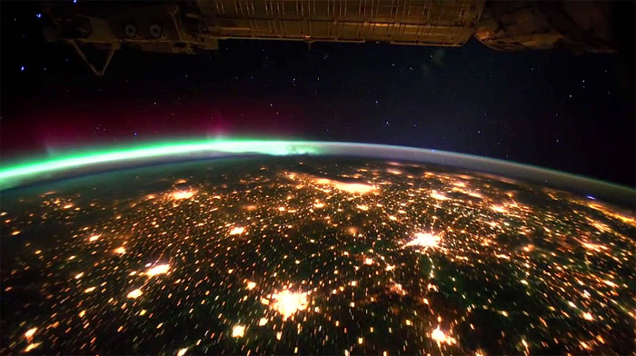 ISS Space Station Planet Earth Aurora Borealis and Aurora Australis