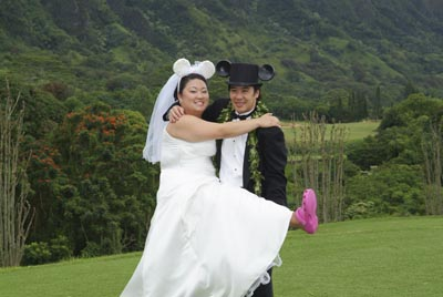 Japanes husband and bride with ugly Crocs.