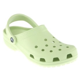 Crocs sandals are ugly. Here a light green one called 'Cayman'.