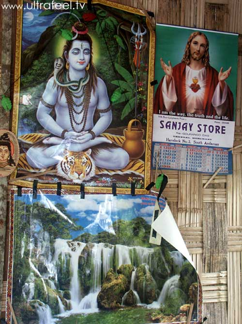 Jesus Christ and Krishna together on a poster in Havelock Island, India. Waterfall picture. (cr) ultrafeel.tv