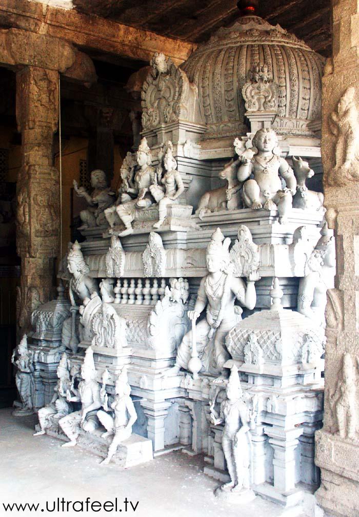 God sculptures at Shiva temple in Tiruvannamalai, Tamil Nadu, India.