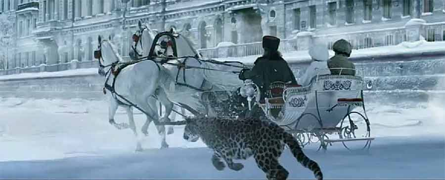 Panther next to carriage in snow landscape (L'Odyssée advertisment art video by Cartier)