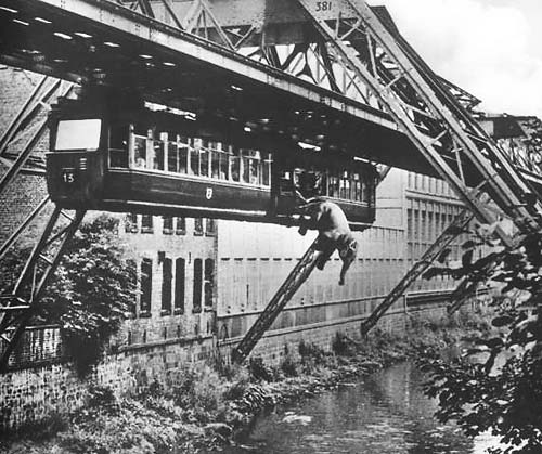 Elephant jumping out of hanging railroad in Wuppertal.