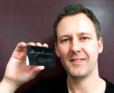Christian Trögele with his vinyl business card.