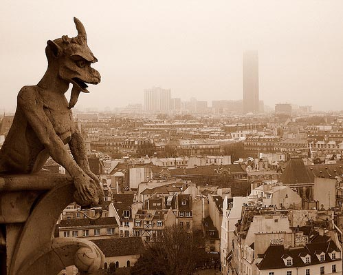 Gargoyle (demon) at Notre Dame cathedral in Paris.