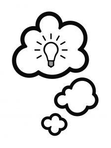 Thought idea aha light bulb.