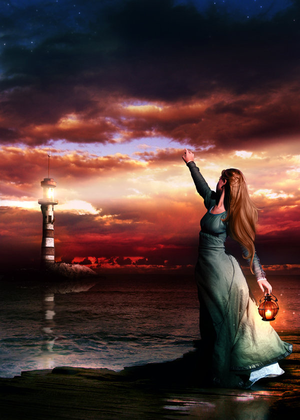 """Longing"": Woman and a Lighthouse"