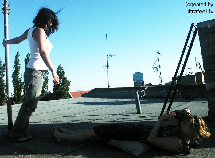 Women posing and photographing on a rooftop (c) h.r.fox @ ultrafeel.tv