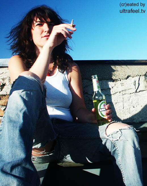 Woman smoking and drinking. (c) h.r.fox @ ultrafeel.tv