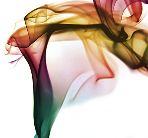 "Sharlene Shappart's color smoke art. ""She dances with veils."""