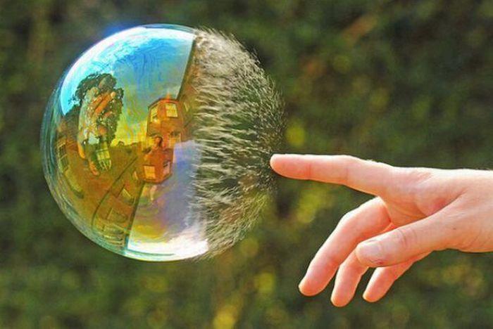 Finger bursts bubble