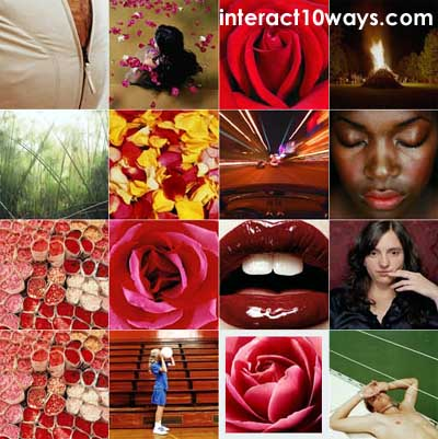 Photo zoom graphic demo by Interact10ways.com Roses, lips, people.