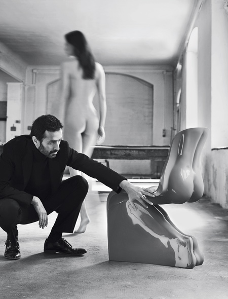 Fabio Novembre's HimHer chair with naked woman walking away. Photo by Settimio Benedusi.