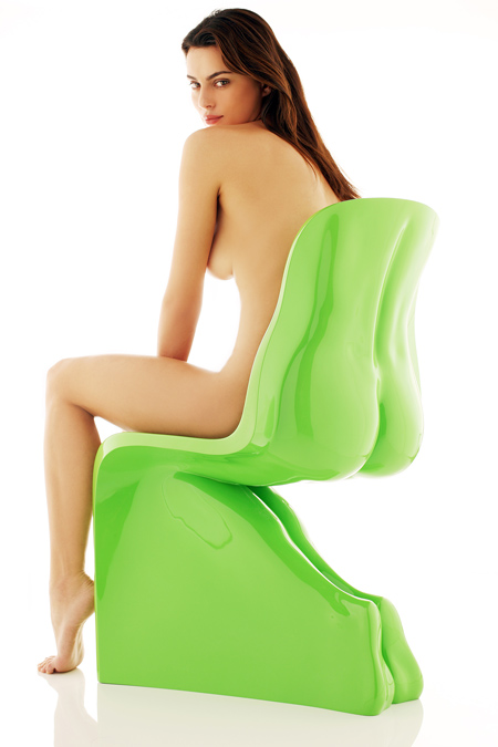 Fabio Novembre's HimHer chair with naked woman. Photo by Settimio Benedusi.