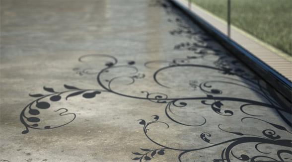 Concrete floor art by Transparent House
