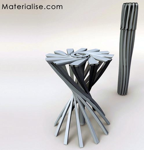 Foldable chair. Faltbarer design stuhl. By Patrick Jouin @ Materialise.com