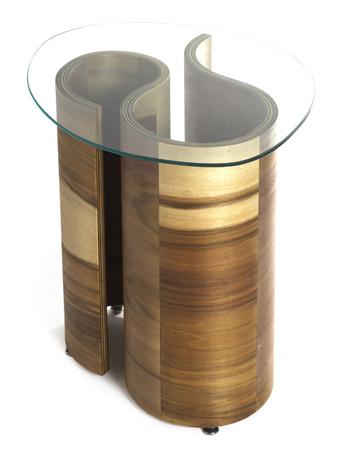 Susan Woods' bent plywood furniture table.