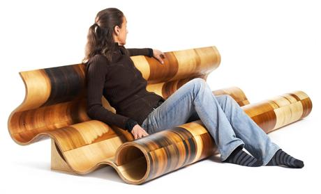 """Susan Woods' bent plywood furniture """"Sofa"""""""