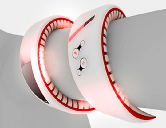 Concept phone by Siemens. Snake-like around the wrist. Handy. Cellphone.