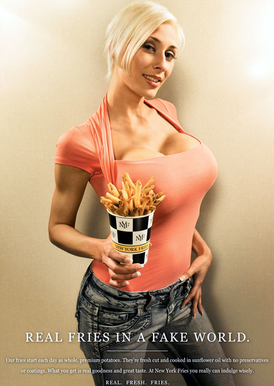 Busty lady with real fries (advertisement)