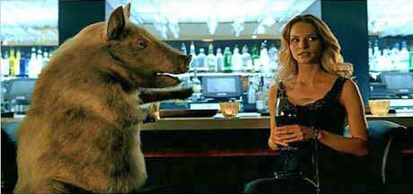 Woman and pig in a bar.