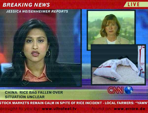 Rice bag has fallen over in China!