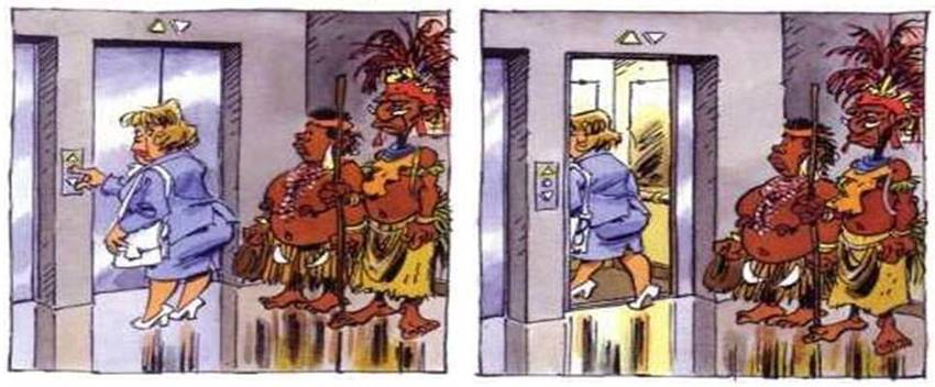 Tribal couple and the elevator.