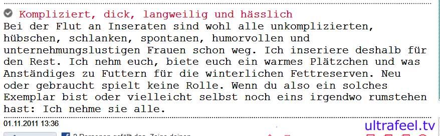 """Kontakt-Anzeige: Mann sucht """"komplizierte, dicke, langweilige und hässliche"""" Frau"""