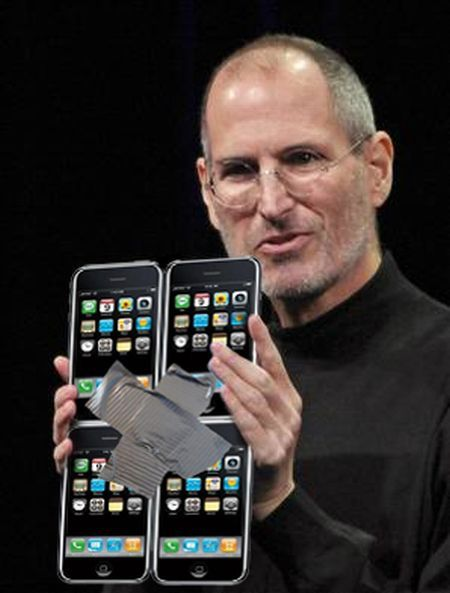 Steve Jobs presents 4 iPhones as the new iPad...