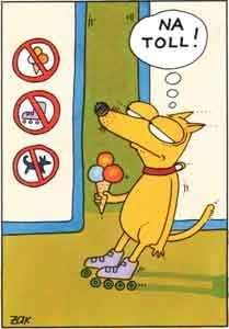 Hund mit eis in der hand und auf rollschuhen kommt an verbotstafel...