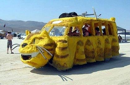 Pussy cat bus @ Burning Man festival in the desert.