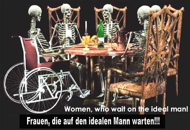 Skeleton sitting at dinner table. Skelette sitzen am tisch und essen.