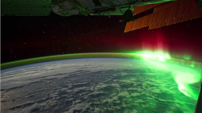 Aurora Borealis and Aurora Australis ISS Space Station Planet Earth