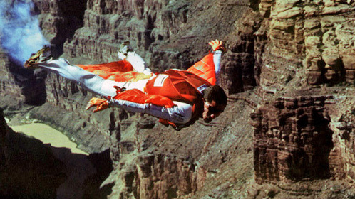 Patrick De Gayardon flying with wingsuit.