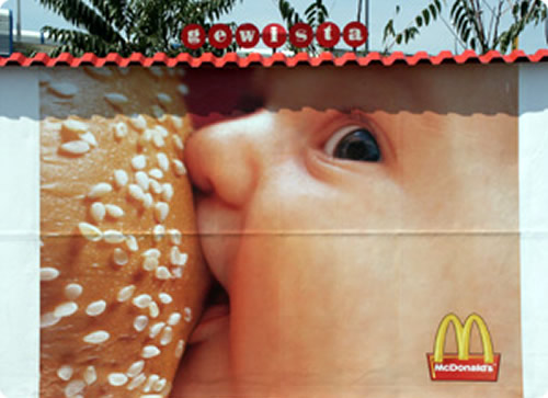 Baby breastfeed on Mc Donald's hamburger...