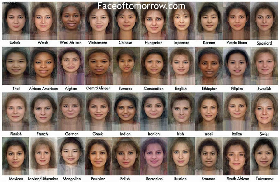 Average faces of women in the world