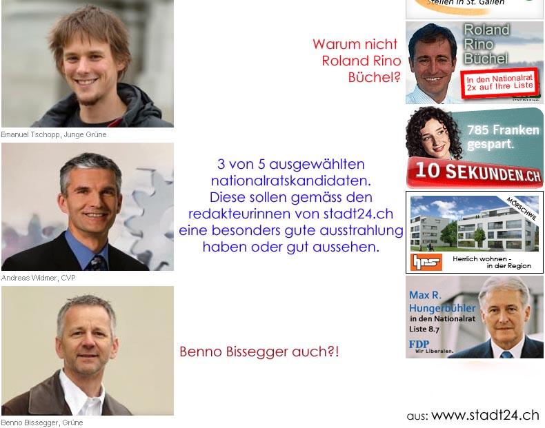 Roland Rino Büchel, Emanuel Tschopp, Andreas Widmer, Benno Bissegger. Nationalratskandidaten 2007 aus dem Kanton St. Gallen.