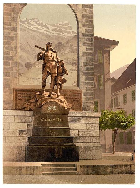 William Tell and his son : statue in Altdorf, Switzerland (Richard Kissling, 1895)