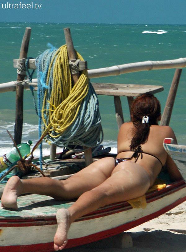 Ass in Brazil at beach.